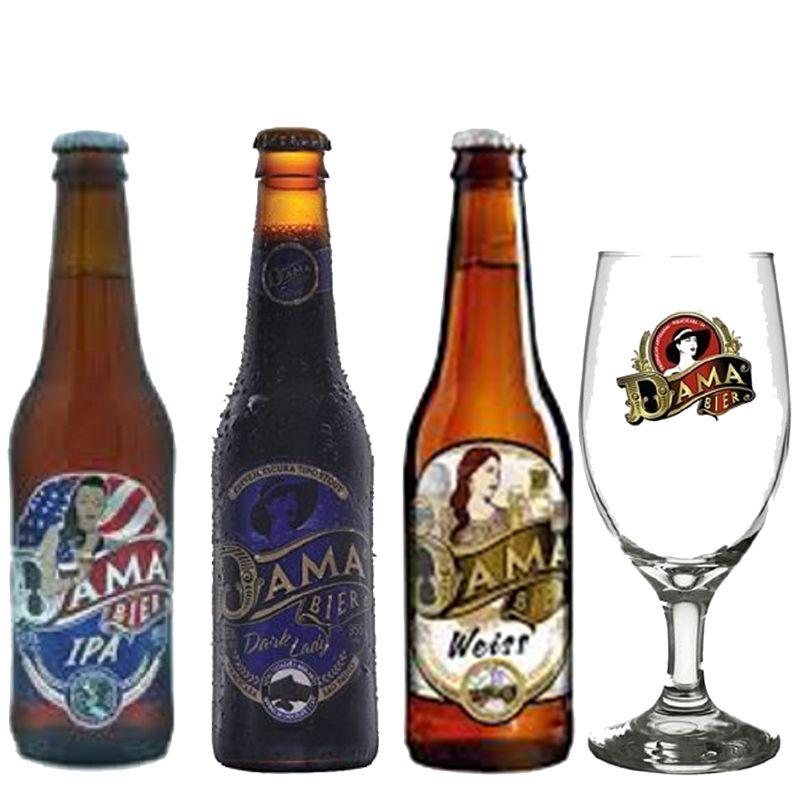 Kit de Cervejas Dama Bier contendo 3 rótulos com Taça