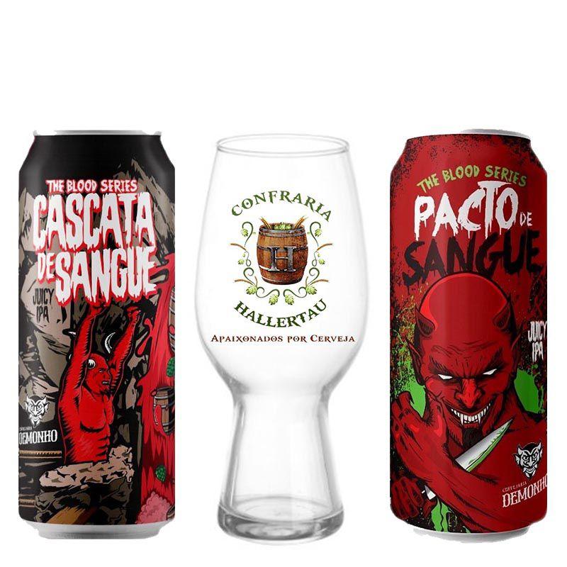 Kit de Cervejas Demonho Pacto e Cascata de Sangue com Copo Ipa Hallertau 440 ml