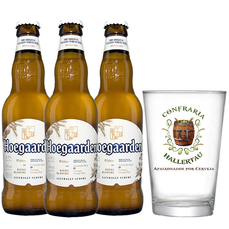 Kit de Cervejas Hoegaarden Witbier com Copo Hallertau 350 ml