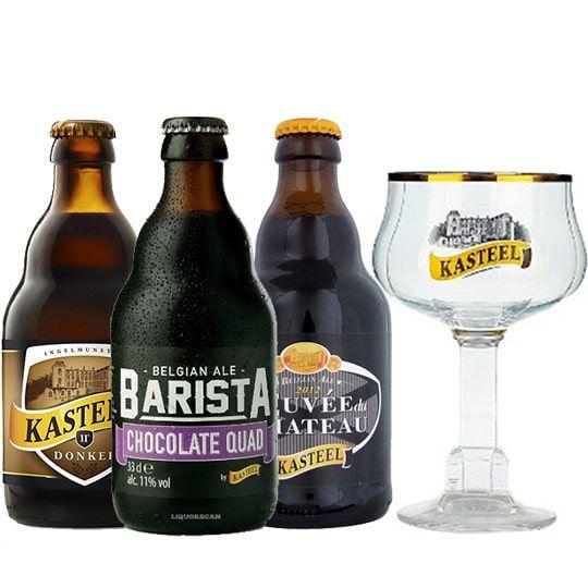 Kit de Cervejas Kasteel contendo 3 Rótulos com Taça 330 ml