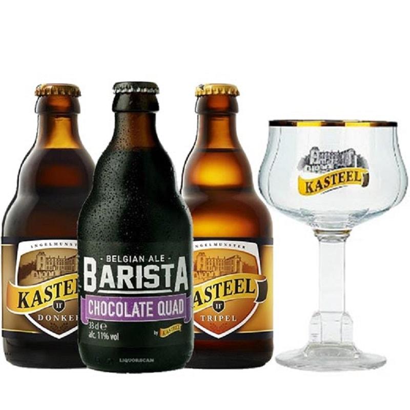 Kit de Cervejas Kasteel contendo 3 Rótulos com Taça