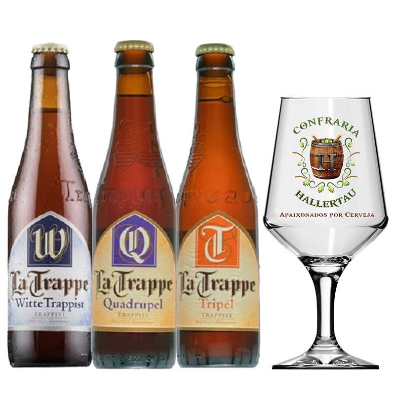 Kit de Cervejas La Trappe com 3 Rótulos e Taça Hallertau