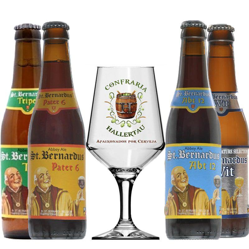 Kit de Cervejas St Bernardus com 4 Rótulos e Taça Hallertau