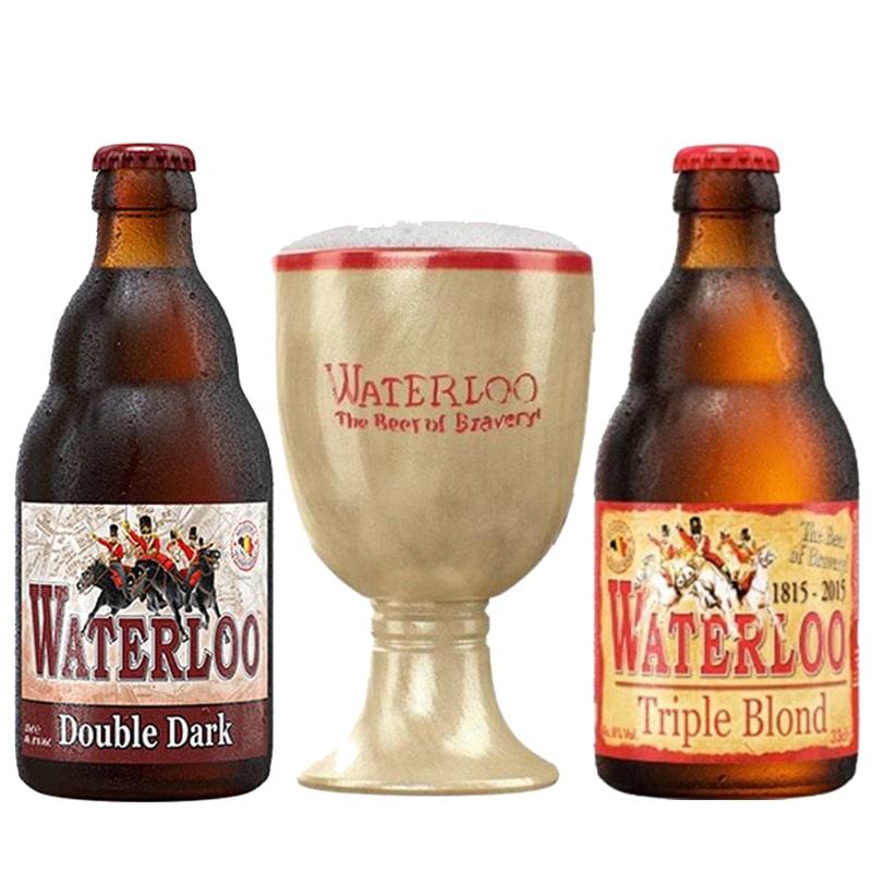 Kit de Cervejas Waterloo Com 2 Rotulos e Taça em Ceramica