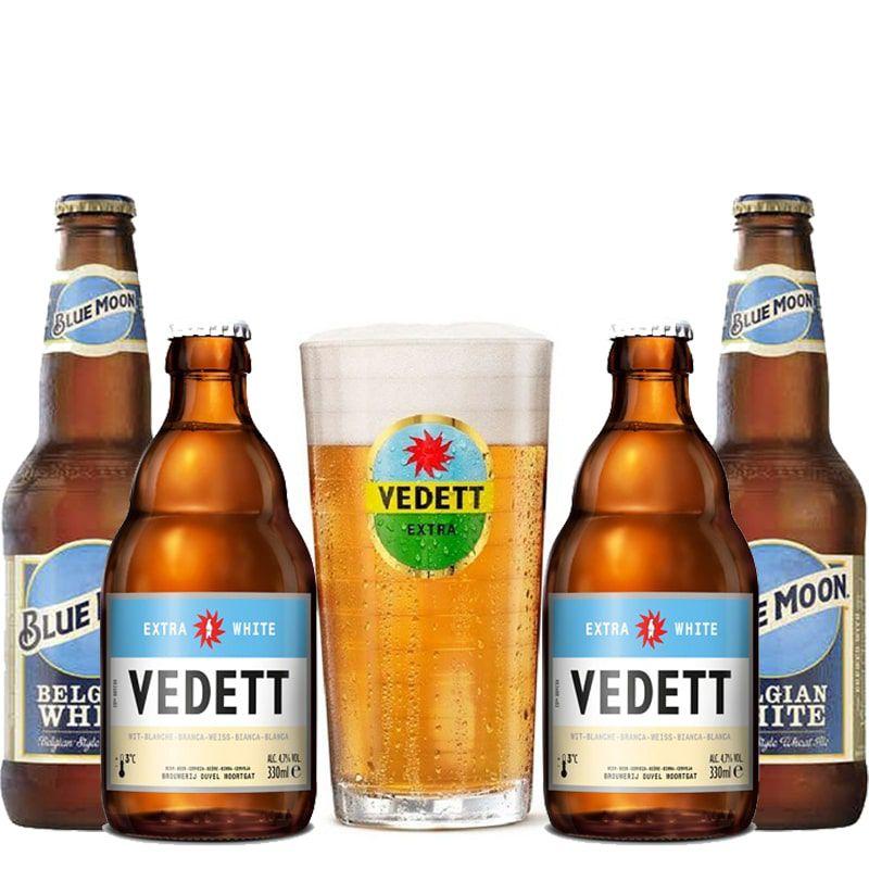 Kit de Cervejas Witbier Blue Moon e Vedett com Copo Gratuito