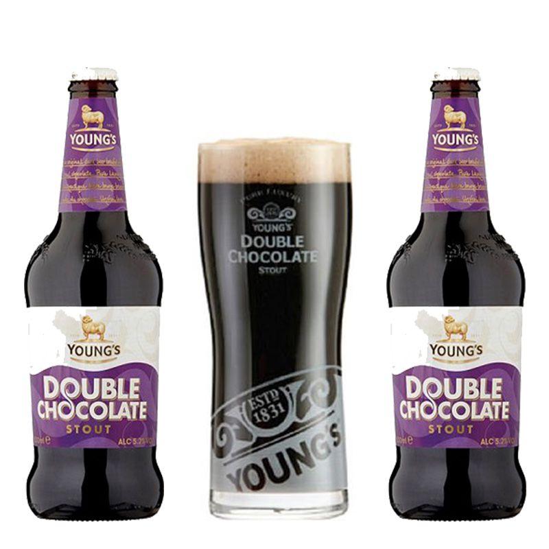 Kit de Cervejas Youngs Double Chocolate Stout com Copo