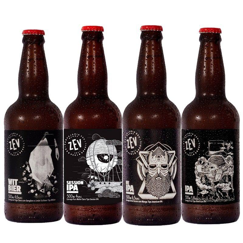 Kit de Cervejas Zev contendo 4 Rótulos
