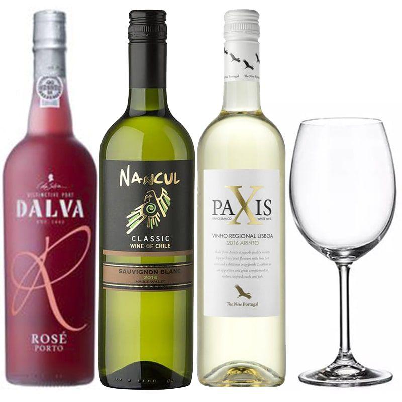 Kit de Vinhos Branco e Rose para o dia da Mães com Taça