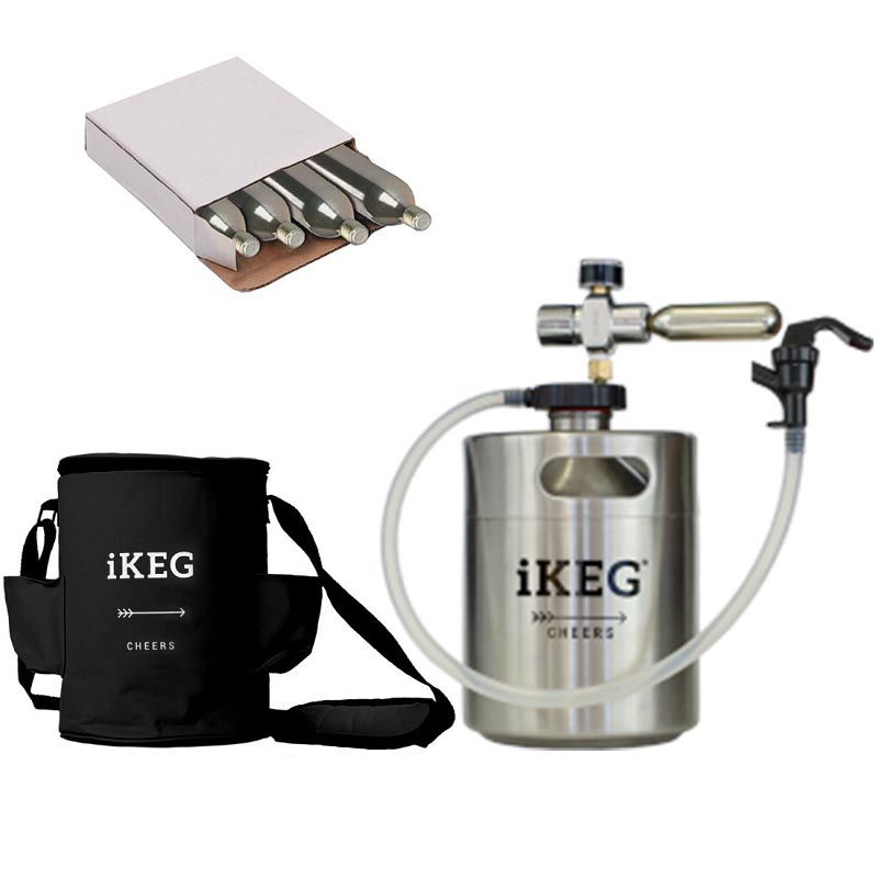 Kit Ikeg de 2 Litros com Torneira Plástica e Bolsa Térmica Preta e CO2