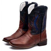 Bota Texana Masculina em Couro Azul Marinho cou ro bovino