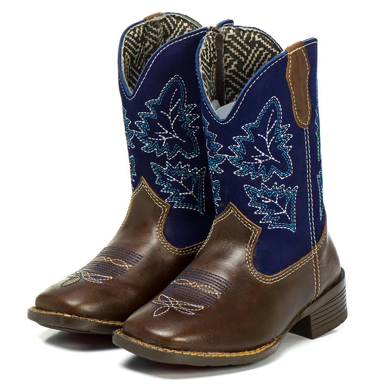 3cd90fb14 Bota Country Texana Infantil Azul Masculina Menino Couro - Kapell ...