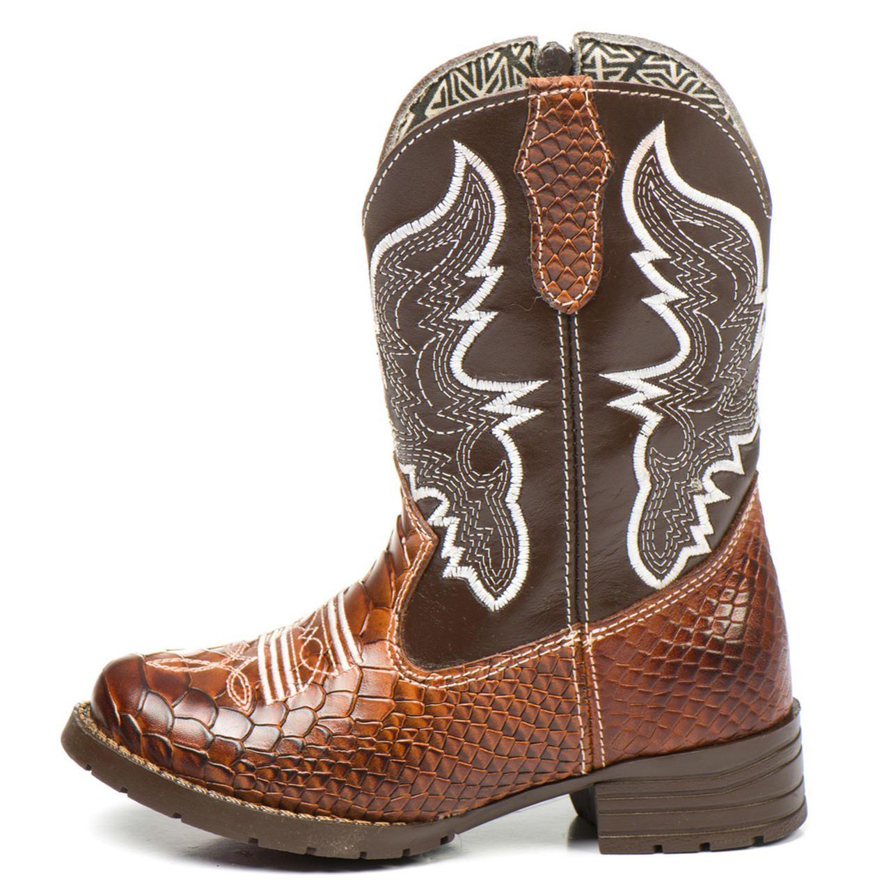 1b6310ec355c4e Bota Country Texana Infantil Marrom Masculina Menino Couro