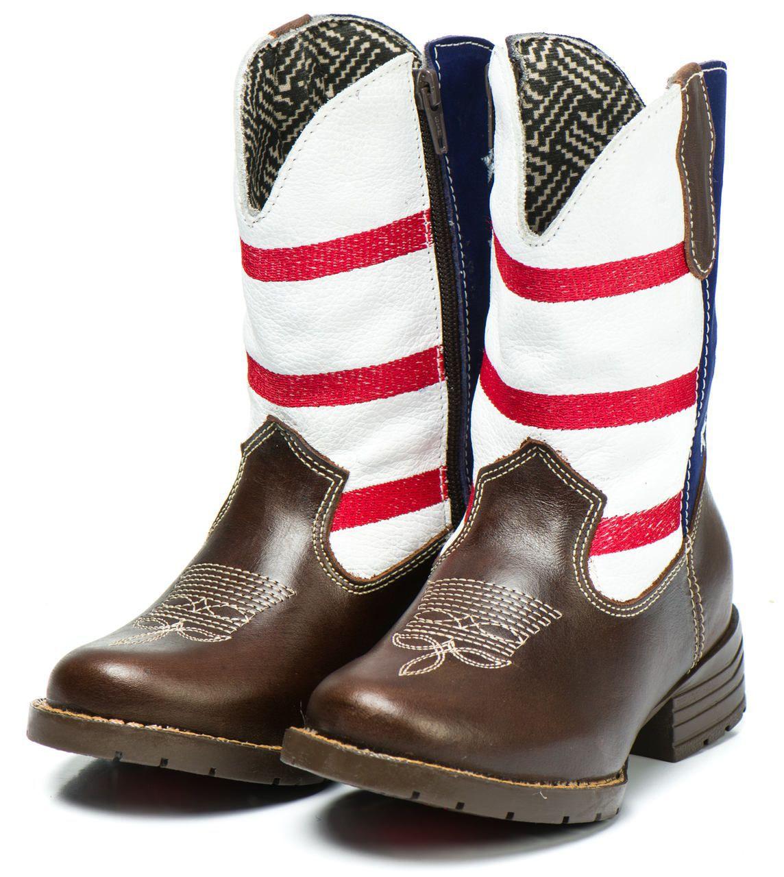5dec9b1af Bota Country Texana Infantil Usa Masculina Menino Couro - Kapell ...