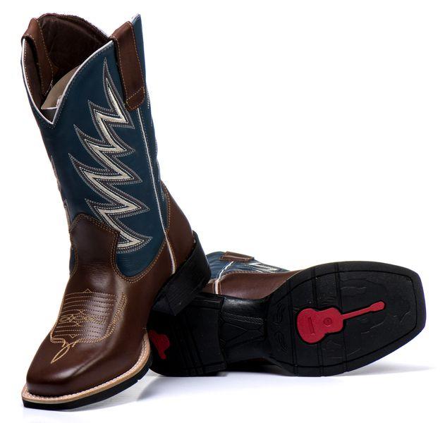 Bota Texana Masculina em Couro Azul Raio  Black Friday Couro bovino