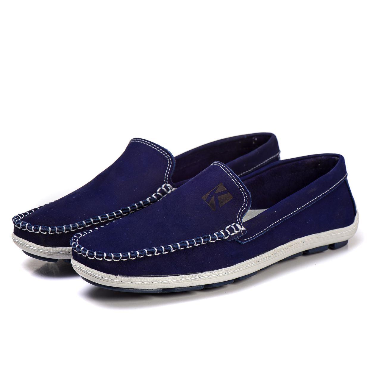 42baee48b7 Sapato Mocassim Couro Legítimo Azul bic - Kapell Calçados