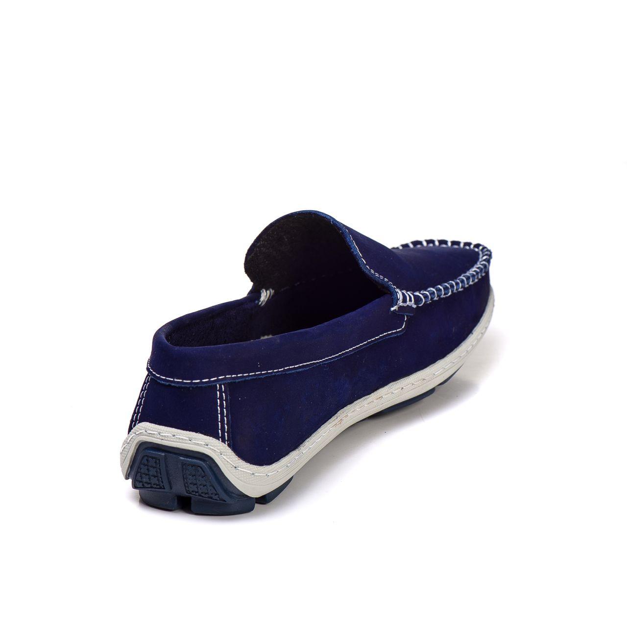 419a242b20d Sapato Mocassim Couro Legítimo Azul bic - Kapell Calçados