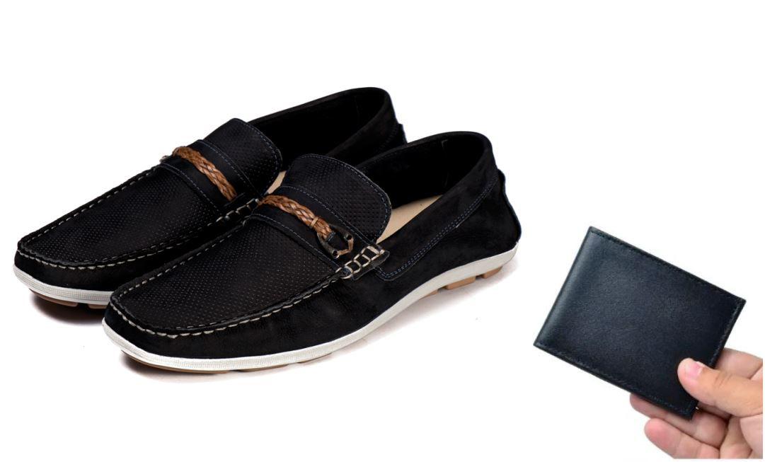 8b6e60c51b Sapato Mocassim Couro Legítimo Azul escuro Fivela com carteira ...