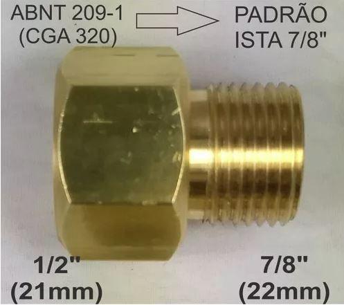 """Adaptador p/ válvula topo CO2 de 1/2"""" p/ 7/8"""" padrão Ista"""