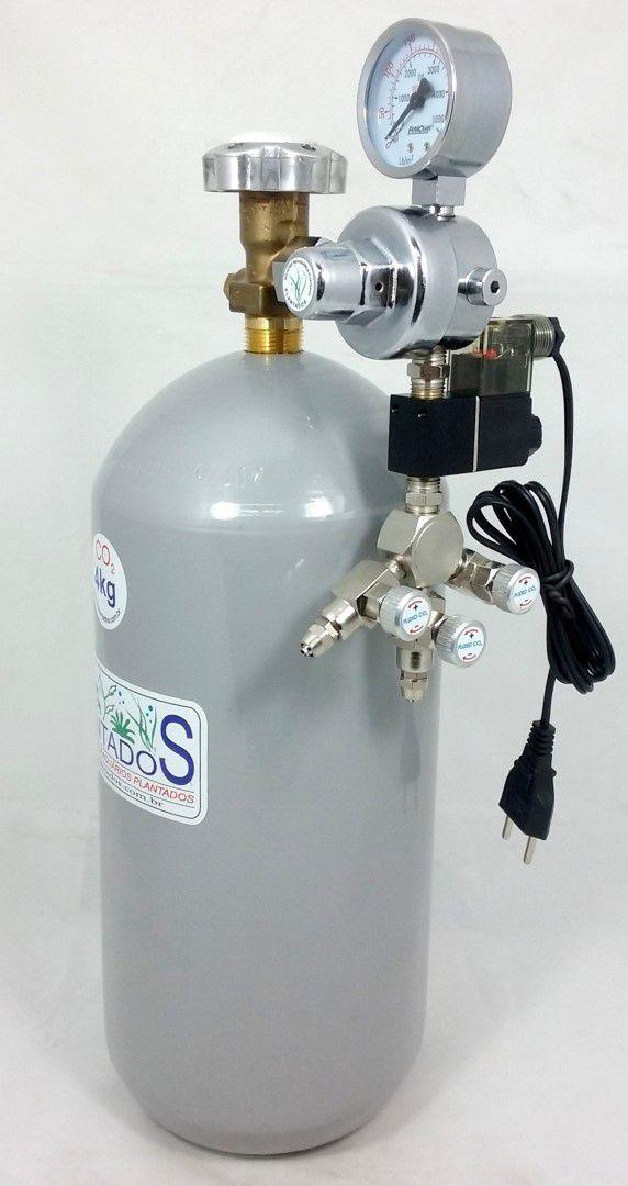Kit CO2 c/ cilindro de aço 4kg e 3 saídas p/ aquário