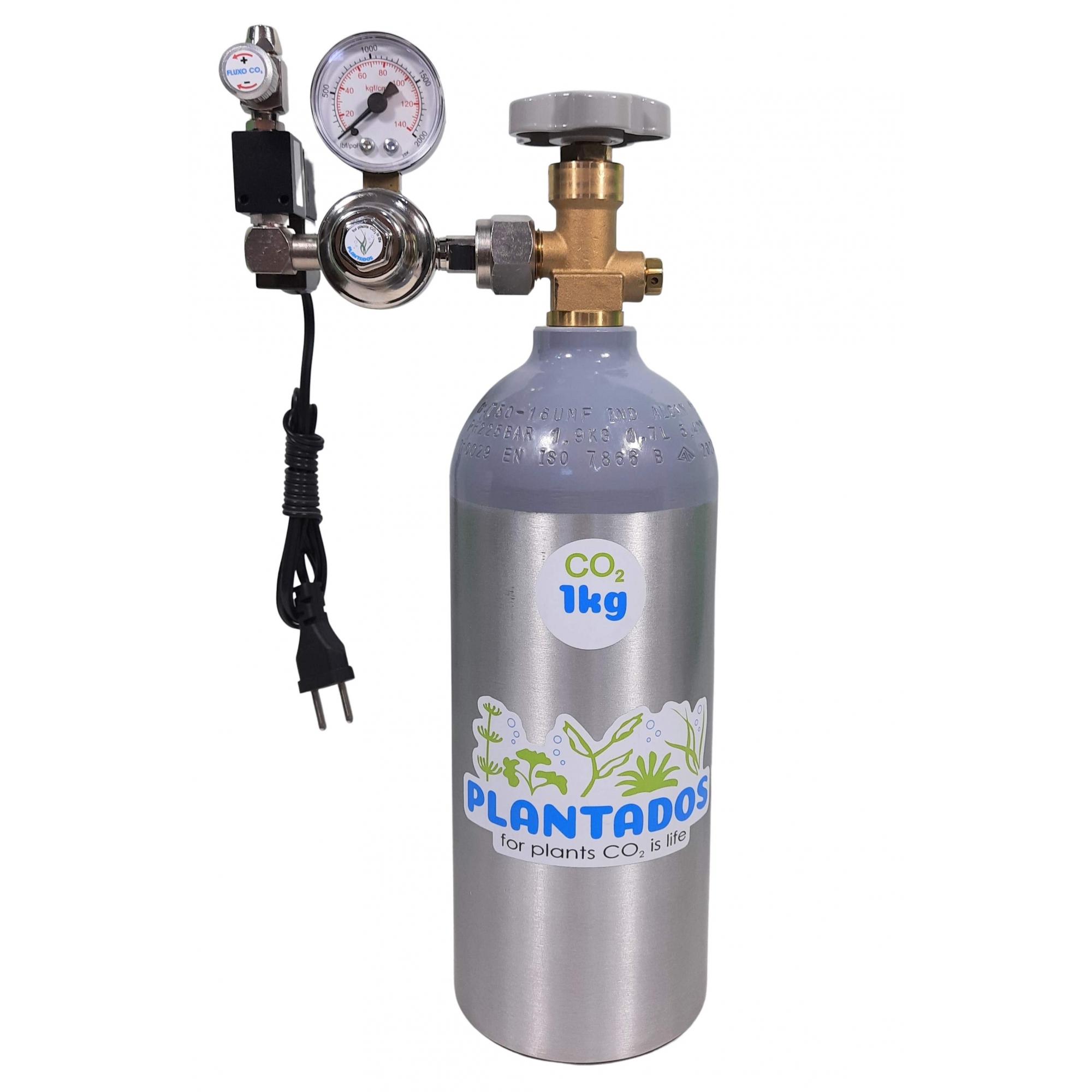 Kit CO2 c/ cilindro de alumínio 1kg e 1 saída p/ aquário