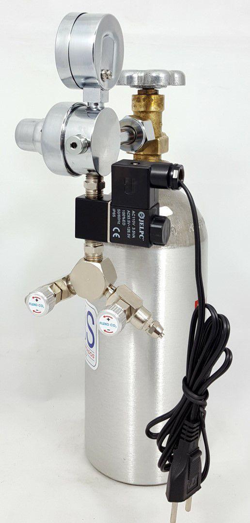 Kit CO2 c/ cilindro de alumínio 1kg e 2 saídas p/ aquário