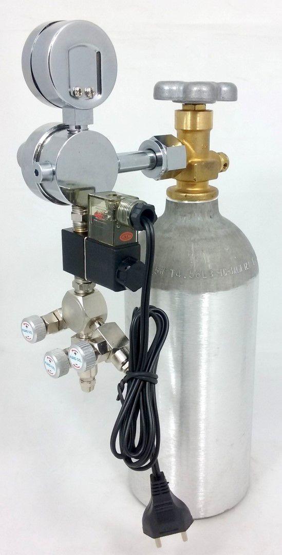 Kit CO2 c/ cilindro de alumínio 1kg e 3 saídas p/ aquário