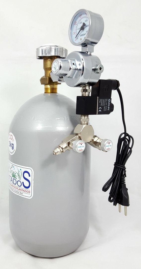 Kit CO2 c/ cilindro de aço 3kg e 2 saídas p/ aquário