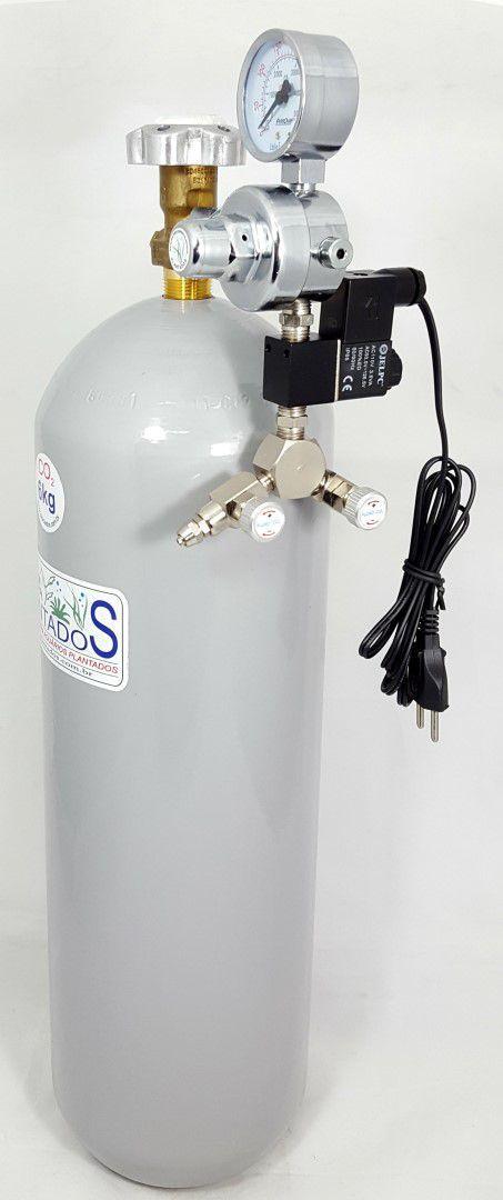 Kit CO2 c/ cilindro de aço 6kg e 2 saídas p/ aquário