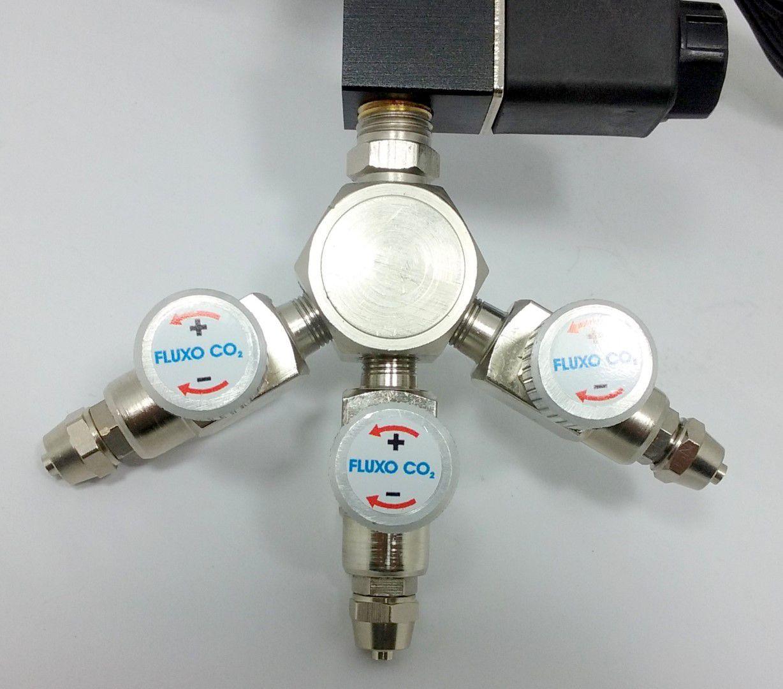 Kit p/ cilindro de CO2 com 3 saídas p/ aquário
