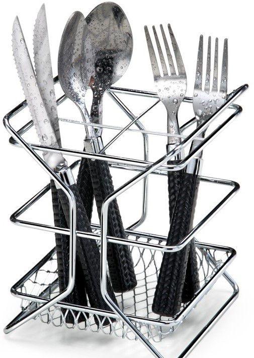 Porta Talher C/ Divisória  Art Cook - Aço Cromado