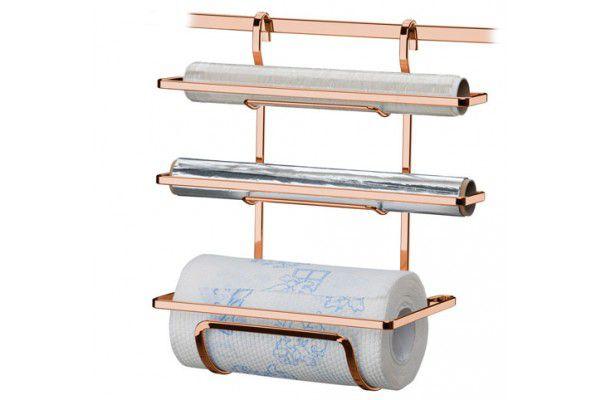 Suporte para Rolos Papel Toalha/Alumínio/PVC - Rosé Gold