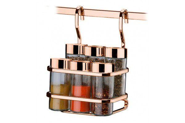 Suporte para temperos/condimentos 7 peças - Rosé Gold
