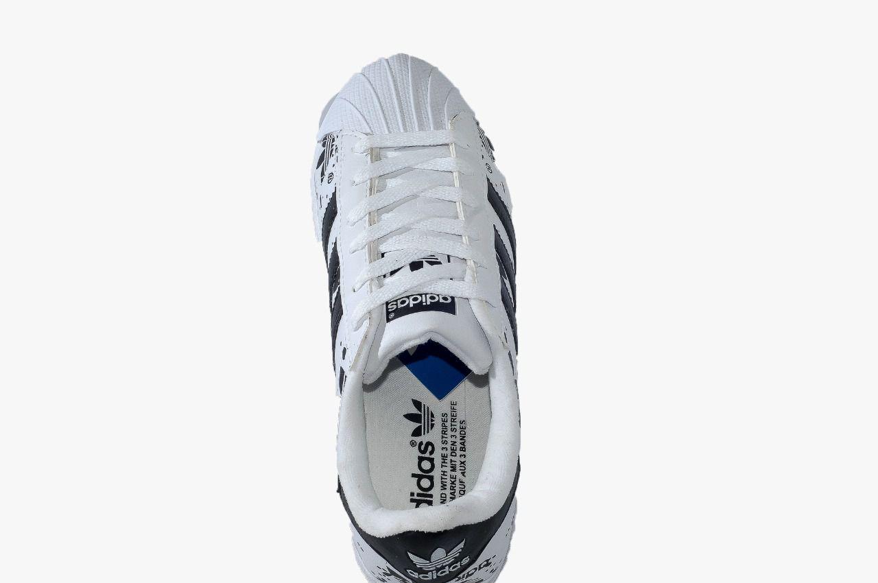 097789980 Adidas Super Star Branco Preto Logo Adidas - roud.com.br