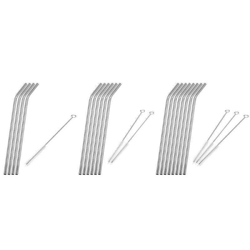 4 Canudos Reutilizáveis Aço Inox Retos E Curvos + Limpador