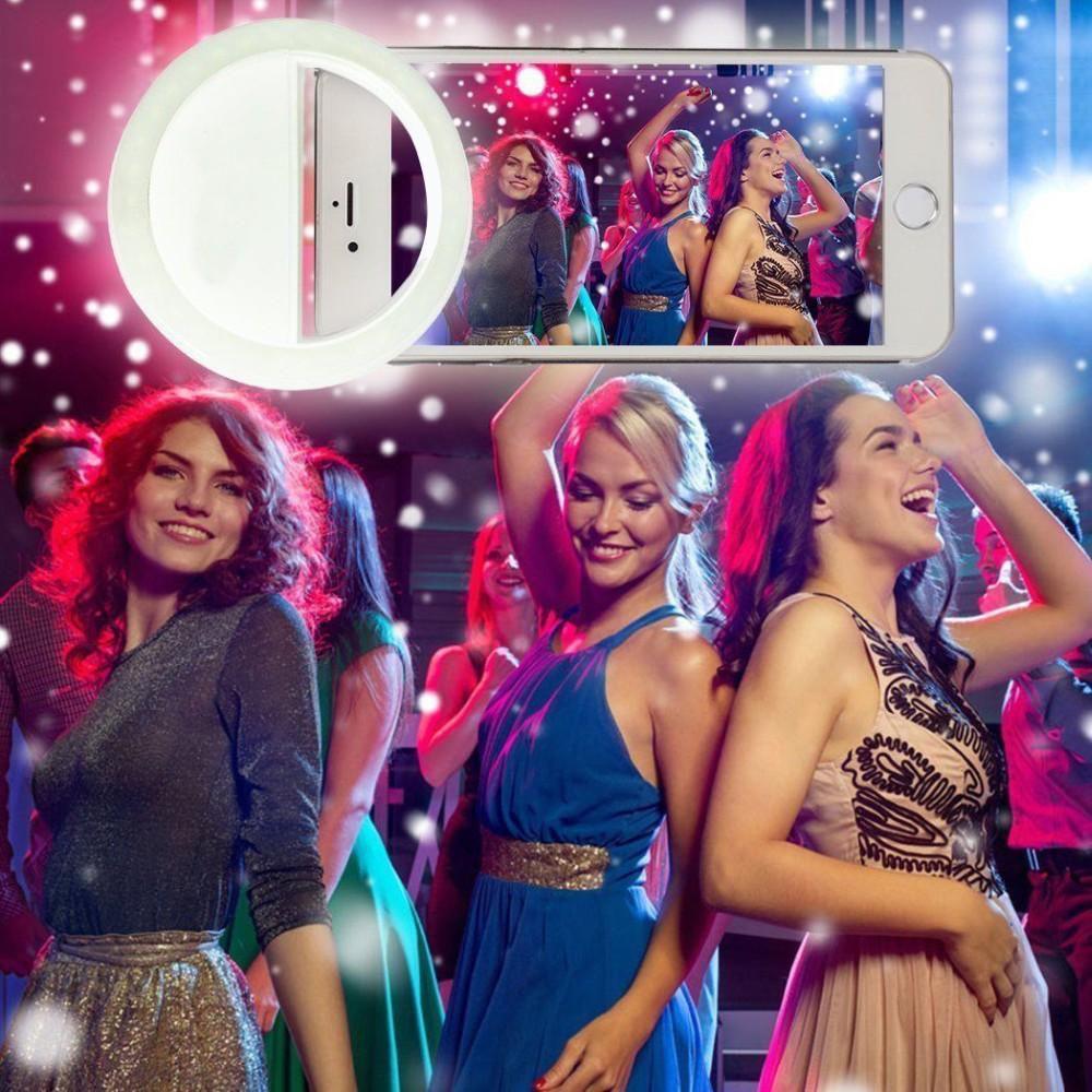Anel de Selfie com Carregamento Usb e para Maquiagem Lente de Celular Luz Led Anel Flash para Iphone - Samsung