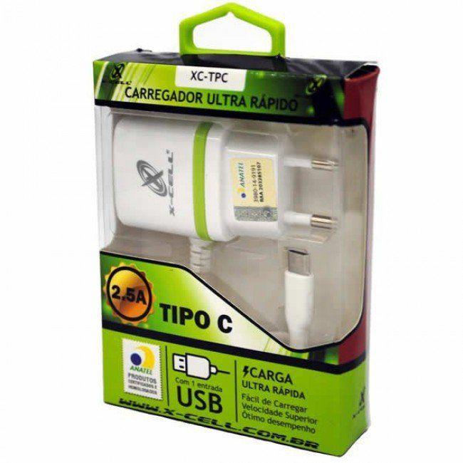 Carregador De Parede Usb Tipo C Com Anatel 2.5a X-cell Ultra Rápido