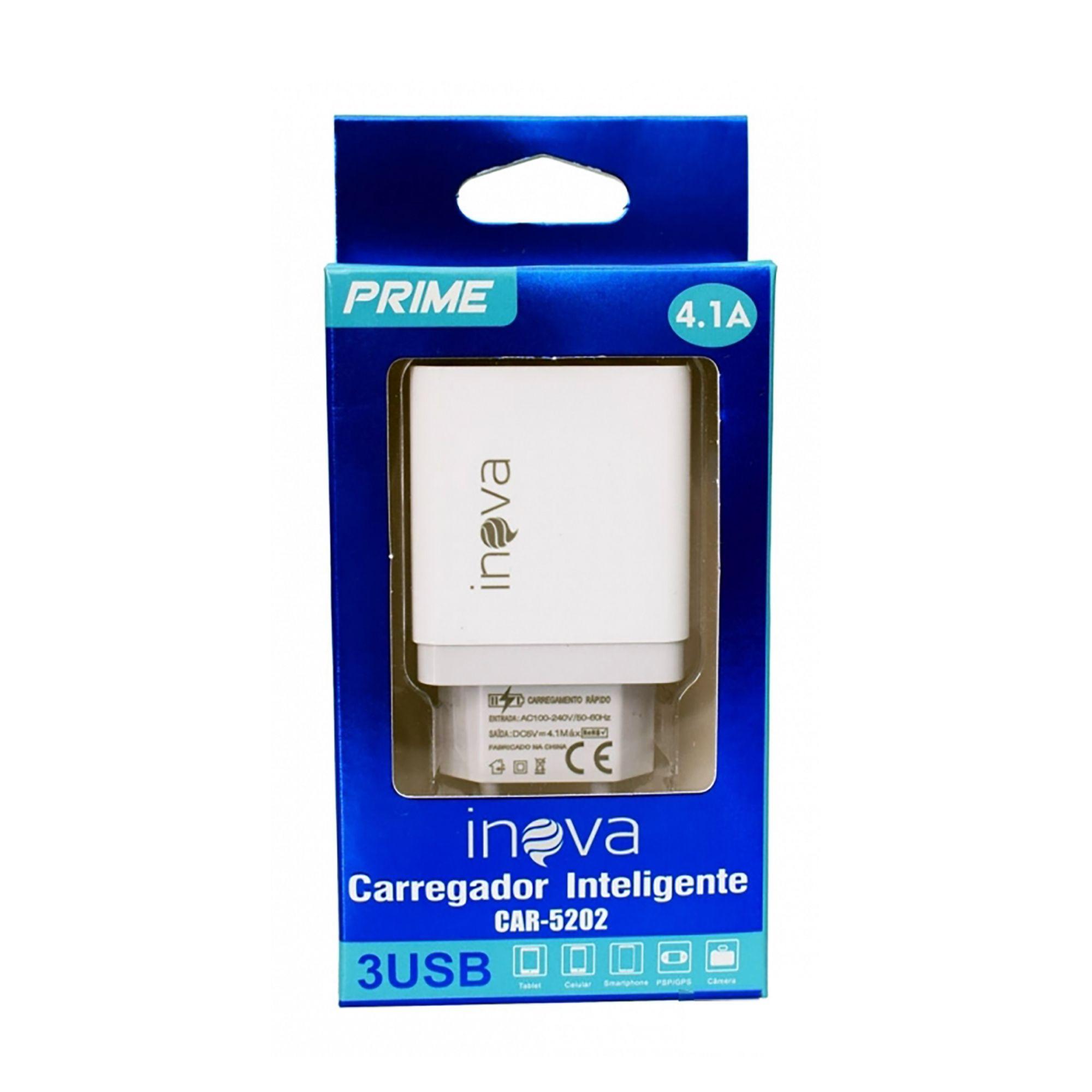 CARREGADOR INTELIGENTE CAR-5202 3 USB PRIME 4.1A