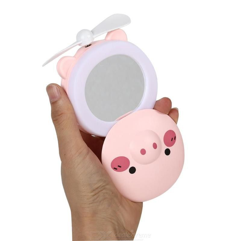 Espelho Led Ventilador Luz Portátil Para Maquiagem Iluminador