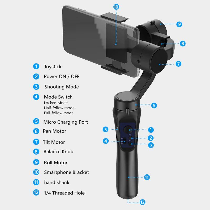 Estabilizador de Celular 3-axis GINBAL flexível h4 handheld cardan huawei samsung telefone inteligente câmera de ação