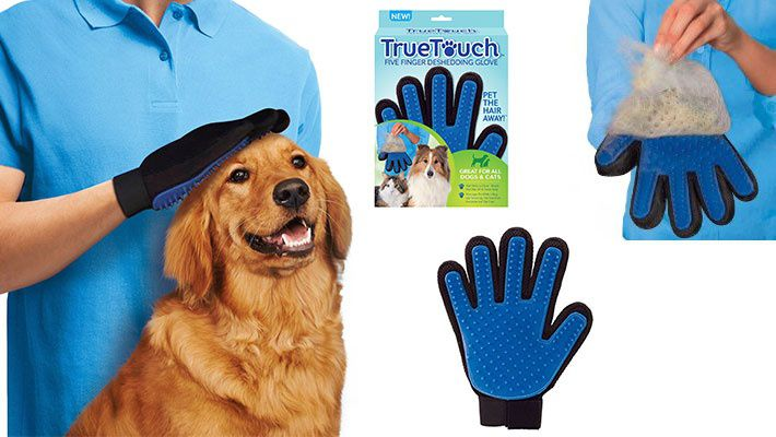 LUVA True Touch Cinco dedos Deshedding Glove-Premium Version, ótimo para gatos e cães LU1