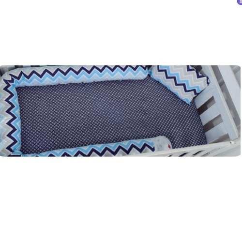 Kit 3 Peças Divertido Azul Protetor Berço Lençol Loupit