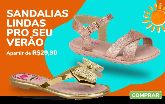 sandálias e chinelos feminos pra sua pequena arrasar nesse verão, e você encontra essas peças apartir de 29,90