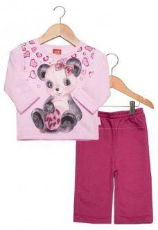 Conjunto Bebe Kyly Infantil Panda Rosa