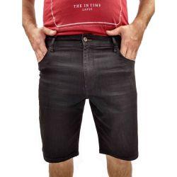 Bermuda Masculina Acostamento Jeans Preta