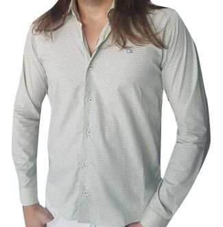 Camisa Ogochi Masculina Manga Longa Social Estampada
