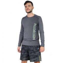 Camiseta Alto Giro Masculina Manga Longa Cinza