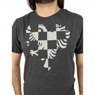 Camiseta Cavalera Masculina Águia Quadrados Cinza