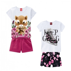 kit de Conjuntos Meninas Casual Verão