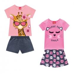 kit de Conjuntos Kyly Feminino Bebê Love Smile + Minha Girafinha