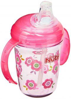 Copo Nuby Tritan Alça 240 ml Canudo Bico Soft Flex Silicone